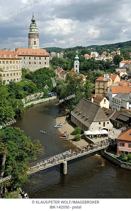 View over the Vltava river to Cesky Krumlov with castle and tower, South Bohemia, Czech Republic