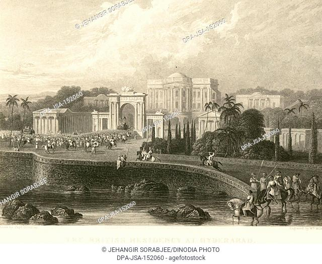 Lithographs The British Residency at Hyderabad ; Andhra Pradesh ; India