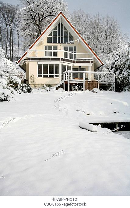 Exterior View Of A House, In Snow