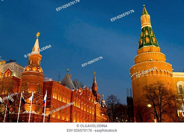 View of the Kremlin and Historical Museum from Manezh Square at night