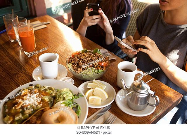 Cropped shot of female friends texting on smartphones in vegetarian restaurant