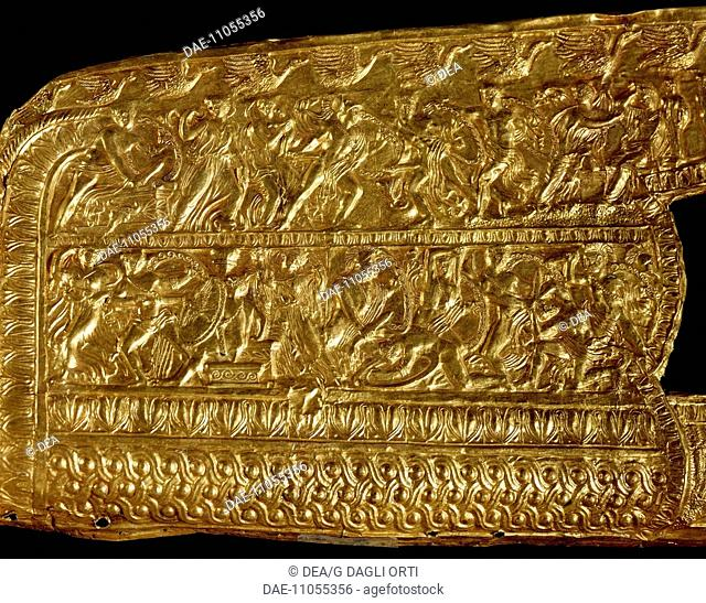 Gold quiver with reliefs depicting the sack of Troy, from the royal tomb of Philip II, Vergina (Greece). Goldsmith art, Greek Civilization, 4th Century BC