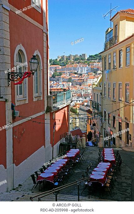 Lane, view on fortification Castelo de Sao Jorge, quarter Bairro Alto, Lisbon, Portugal