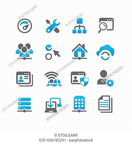 Network icon set - Flat Series