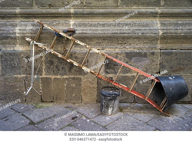 Ladder with lock. Napoli, Italy