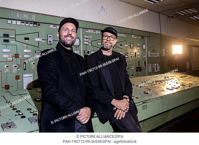 12 July 2019, Berlin: Christopher Bauder (l), light artist, and Robert Henke, composer and musician, are at a press conference to open their audiovisual...