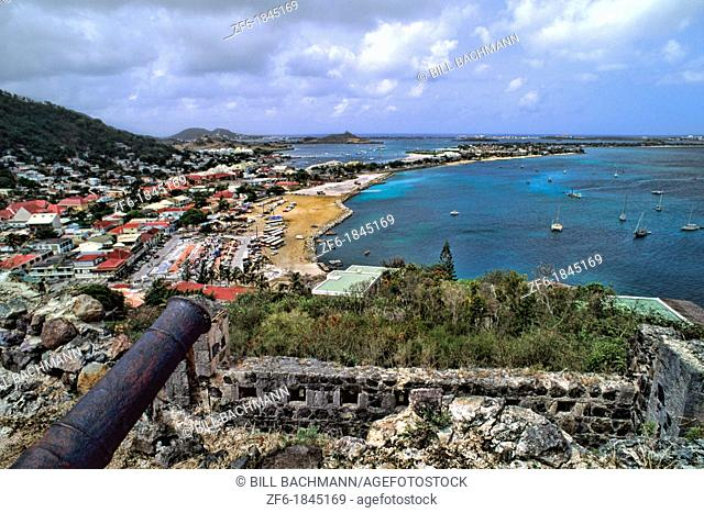 Marigot overlook from mountain of French Capital from Marigot in St Martin Caribbean