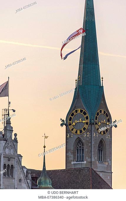 View of church tower of the Fraumünster, old town, Zurich, Canton of Zurich, Switzerland