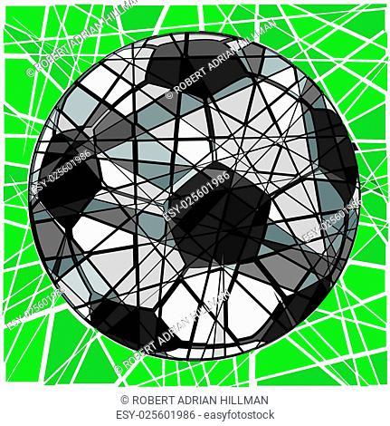 Editable vector mosaic design of a soccer ball
