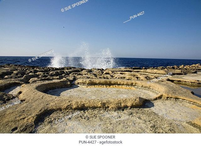 Salt pans in Gozo on Malta in June