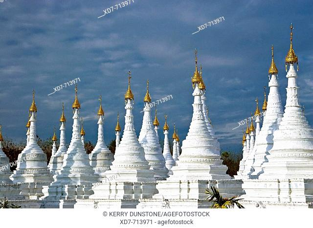 Myanmar (Burma) Mandalay Sandamani Paya Stupas containing commentary on the Tripitaka