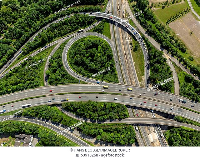 A59 and A42 motorway junction, Duisburg-Nord, aerial view, Duisburg, Ruhr district, North Rhine-Westphalia, Germany