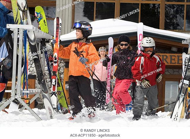 Young skiers ready for the slopes, Whistler Mountain, British Columbia, Canada