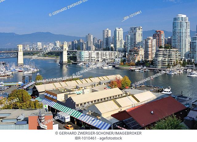 Looking towards the downtown skyline of Vancouver from Granville Island, Vancouver, British Columbia, Canada, North America