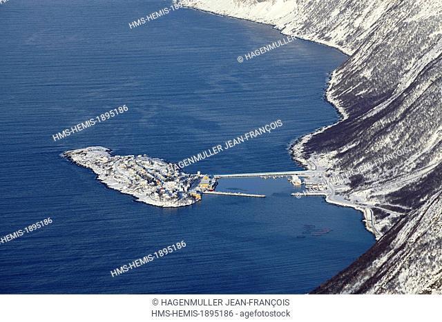 Norway, Troms, Senja island, fishing village of Husoy island in winter