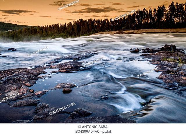 River flowing over rocks, Storforsen, Lapland, Sweden