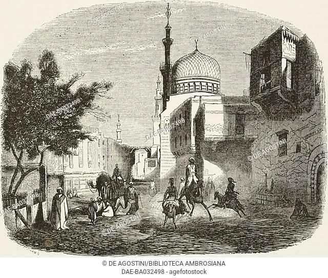 View of Rue Hourbarych in Cairo with a mosque in the background, Egypt, illustration by Henri De Chacaton (1813-1886) from L'Illustration, Journal Universel