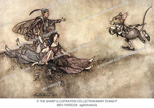 Illustration, Peter Pan in Kensington Gardens, by Arthur Rackham -- Wallflower juice is good for reviving dancers who fall to the ground in a fit