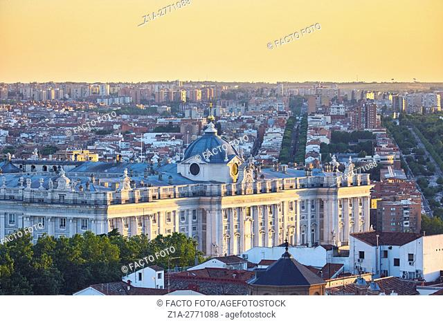 Royal Palace detail at Los Austrias district. Madrid. Spain