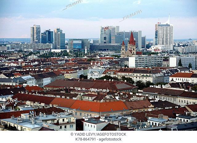 View over the skyline of vienna from the Riesenrad giant wheel at Prater Amusment park, Vienna, Austria