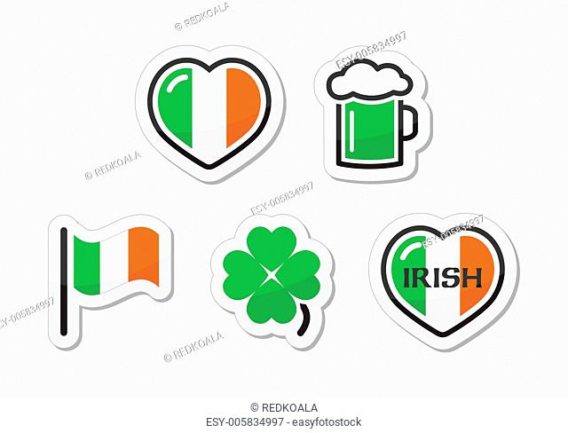 St Patricks Day icons - irish flag, clover, green beer