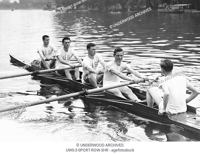 London, England: September 13, 1942. Members of the U. S. Army Air Force boat crew row out for the start of a race against the London Metropolitan Police Club...