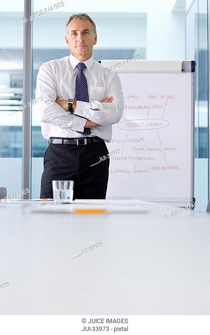 Portrait of serious businessman standing with arms crossed in front of flipchart in conference room