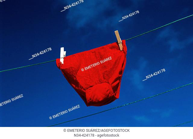 Red underpants on a cothesline. Tenerife Island, Canary Islands. Spain