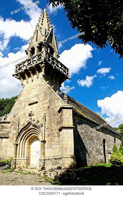 Saint Yves chapel, and its gothic flamboyant style steeple, Saint Yves, Brittany, Morbihan 56, France