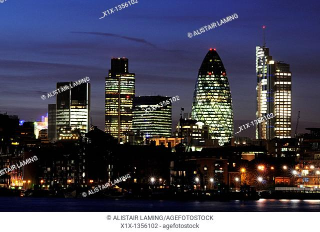 City of London Skyline at night seen from Bermondsey, London, England, UK
