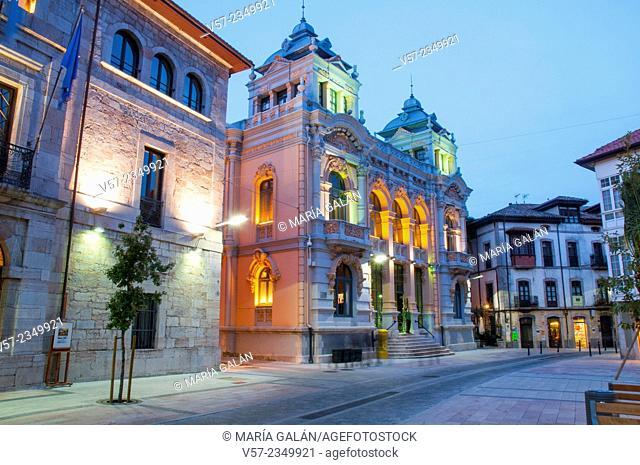 Casino, night view. Llanes, Asturias, Spain