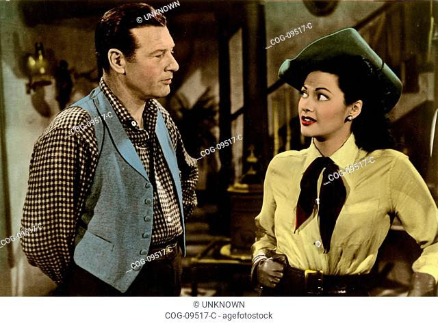 American actors Yvonne De Carlo and Barry Fitzgerald in a scene from the film Silver City , USA