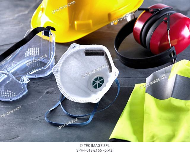 Dust mask, goggles, hard hat, high visibility vest and ear defenders