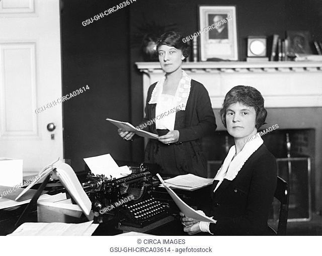 Two Female Office Workers, Washington DC, USA, Harris & Ewing, 1921