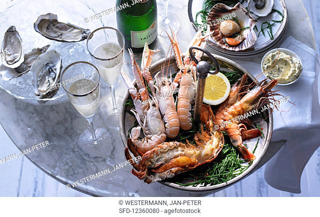 Seafood platter with sparkling wine