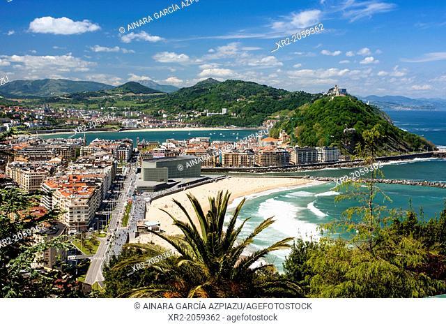 Panoramic view of Donostia aka San Sebastian, Guipuzcoa, Basque Country, Spain