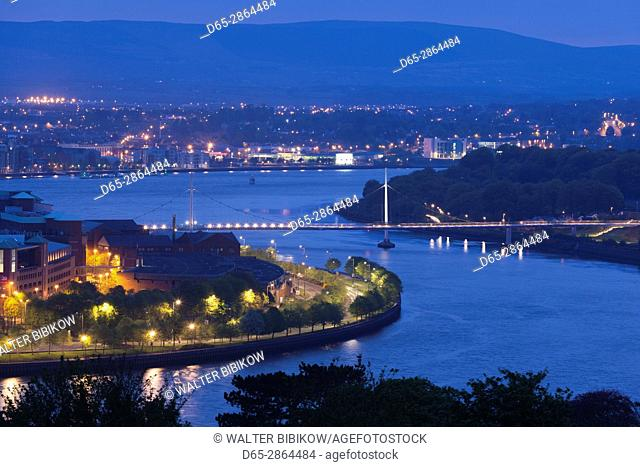 UK, Northern Ireland, County Londonderry, Derry, The Peace Bridge over the River Foyle, 2011, elevated view, dawn