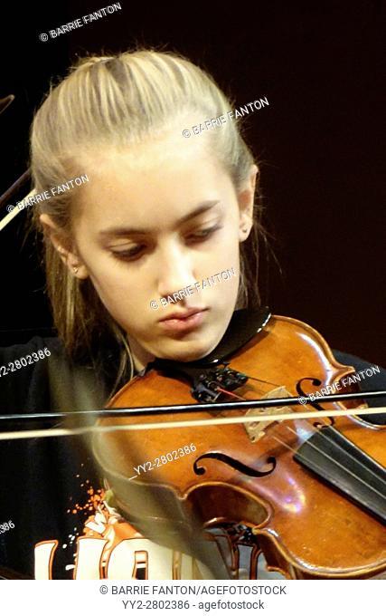 8th Grade Girl Playing Violin, Wellsville, New York, USA