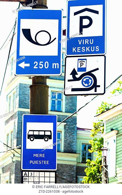 traffic signs at busy roundabout Tallinn Estonia