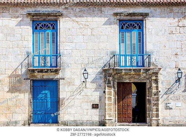 Architectural details in old town of Havana Cuba. The historic center of Havana is UNESCO World Heritage Site since 1982
