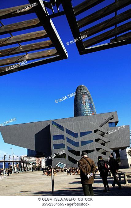 Disseny Hub Barcelona, Barcelona Design Museum Hub and Torre Agbar. Barcelona, Catalonia, Spain