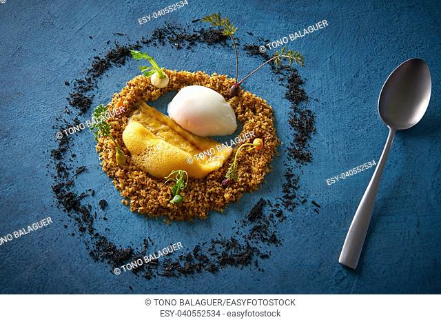 Eel recipe with eggs at low temperature foam and crispy as a round garden