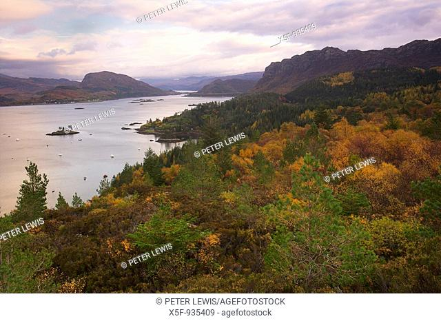 View from hill high above the Village of Plockton in Autumn Scotland