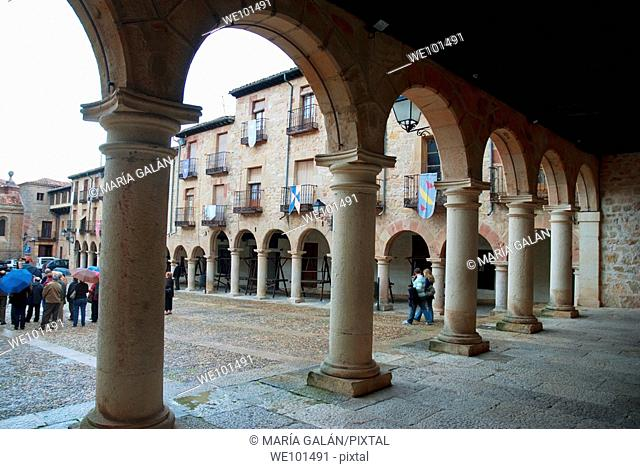 Main Square, view from the arcade. Sigüenza, Guadalajara province, Castilla La Mancha, Spain