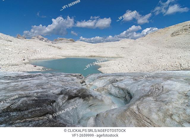 Pala, Dolomites, Trentino, Italy. The glacier and the lake of Fradusta