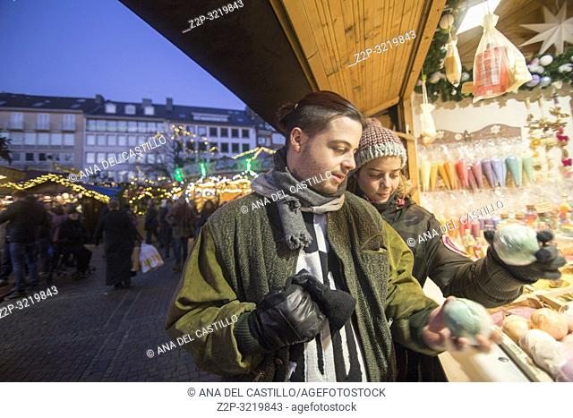 Aachen traditional christmas xmas market square on December 5, 2016 in Germany