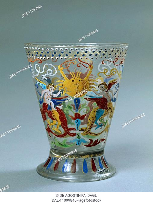 Venetian glass goblet decorated with polychrome enamel, Venice. Italy, 16th century.  Prague, Umeleckoprumyslové Muzeum V Praze (Arts And Crafts Museum)