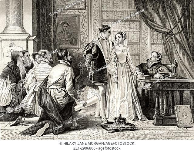 Lady Jane Grey's reluctance to accept the crown, Sion House, July 8th, 1553. Lady Jane Grey, 1536/1537 to 1554, aka The Nine Days' Queen