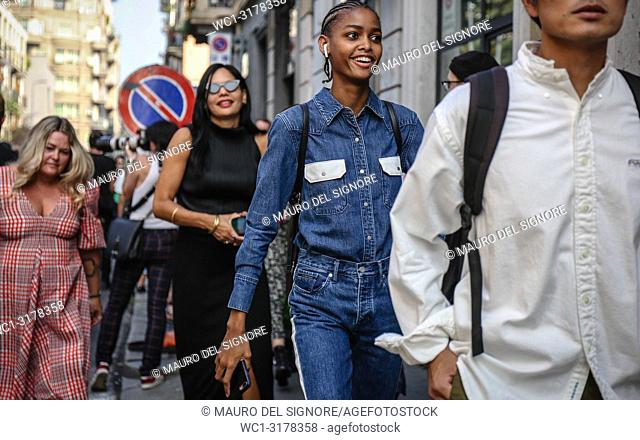 MILAN, Italy- September 19 2018: Blesnya Minher on the street during the Milan Fashion Week