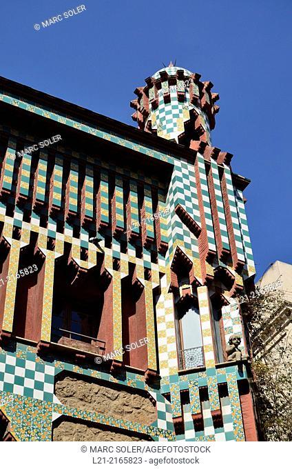 Casa Vicens 1878-1880 designed by Antoni Gaudi. UNESCO World Heritage Site. Gràcia quarter, Barcelona, Catalonia, Spain